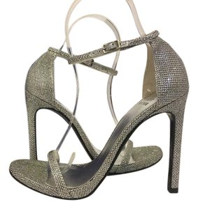 Stuart Weitzman Evening High Heels Glitter Ankle Strap Silver Noir Sandals