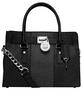 MICHAEL Michael Kors Hamilton Microstud Center Stripe East West Satchel in Black