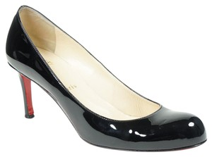 Christian Louboutin Simple 39 Patent Leather Round Toe 70 Black Pumps