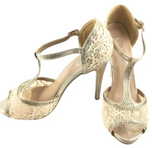 Italina Lace T-strap 1920s Formal Evening Champagne Gold Pumps