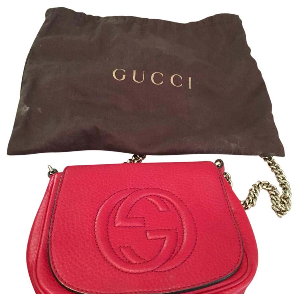f0940a80 Gucci Soho Red with Gold Chain Strap Leather Cross Body Bag 40% off retail