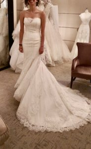 Ines Di Santo White Lace Hannah Formal Wedding Dress Size 4 (S)