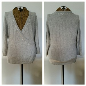 Barneys New York Cashmere Sparkle Wrap Silver Sweater