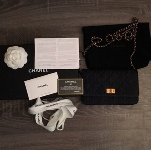 Chanel Denim Navy Woc Walletonchain Leather Cross Body Bag