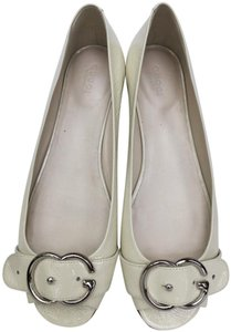Gucci ivory, silver buckle Sandals