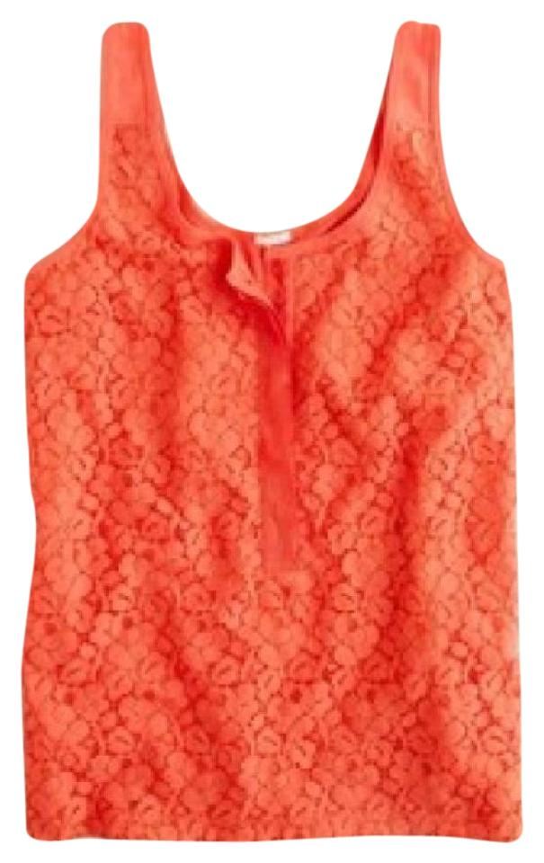 9a0c36ff7b5906 J.Crew Poppy Orange Lace Over Tank Top Cami Size 8 (M) - Tradesy