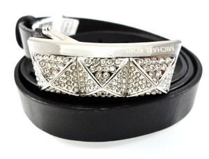 Michael Kors BLACK VINTAGE LEATHER PYRAMID CRYSTAL PAVE BUCKLE BELT sz. S