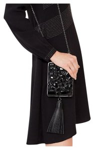 Tory Burch Beaded Embellished Evening Tassels Black Clutch