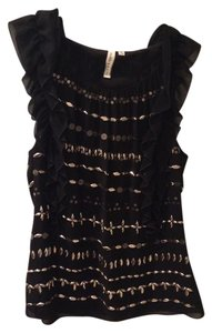 Robbi & Nikki by Robert Rodriguez Embellished Ruffle Dryclean Only Top Black