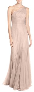 Monique Lhuillier Blush One Shoulder Tulle Trumpet Gown Dress
