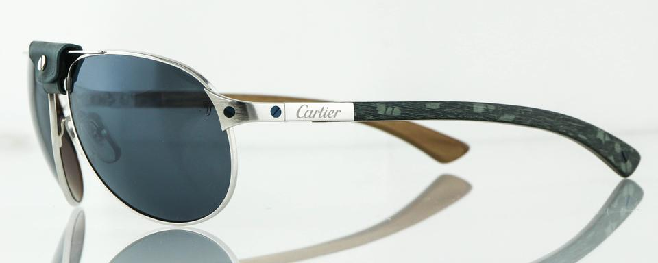 c7f970d9ed04e Cartier  Louro Faya Wood Ruthenium Finish Edition Santos-Dumont Sunglasses  Image 10. 1234567891011