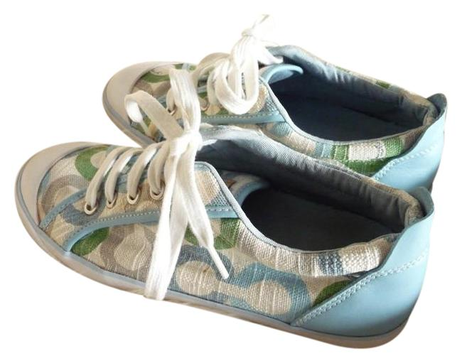 Item - Baby Blue Cream and Green Barrett Collection Sneakers Size US 8.5 Regular (M, B)