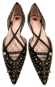 Gucci Studded Spike Pointed Toe Crisscross Strap Gold black Flats