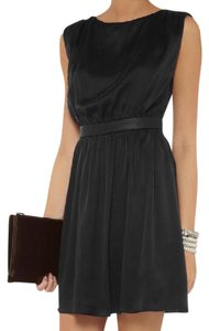 Alice + Olivia Leather Lbd Silk Dress