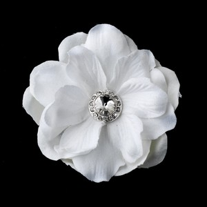 Elegance By Carbonneau Glamorous White Delphinium Flower Hair Clip W/ Silver Clear Jewel 443