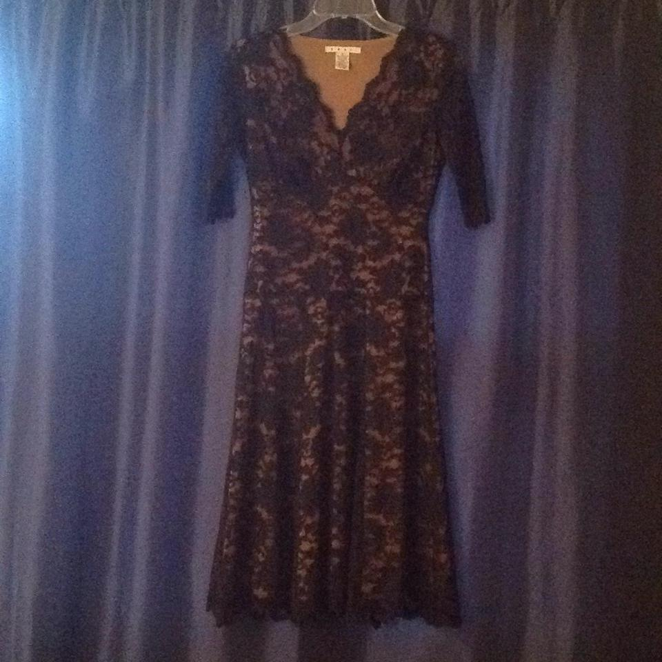 CAbi Black and Tan Style 714 Mid-length Cocktail Dress Size 6 (S ...