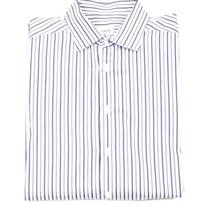 Armani Collezioni White Navy and Grey Stripe Button Dress Shirt
