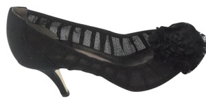 Guess Ruffle Open Toe Mesh Black Pumps