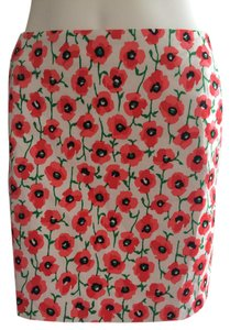 J.Crew Mini Skirt Reddish orange/salmon/green/black/off-white