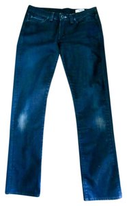 Rogan Dark Wash Stretch Distressed Straight Leg Skinny Jeans-Dark Rinse