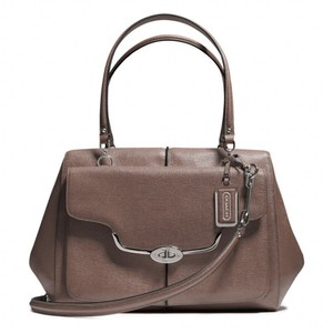 Coach Leather Pebbled Satchel in Silver/Ash