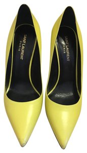 Saint Laurent Ysl Paris Calf Leather Size 38 Yellow Pumps