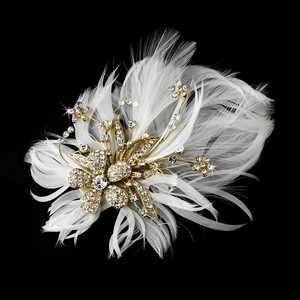 Elegance By Carbonneau Glamorous Gold Bridal Hair Clip Clear Rhinestones & Ivory Feathers 456