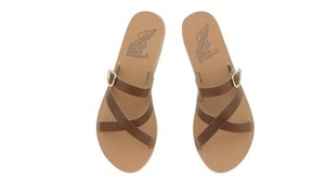 Ancient Greek Sandals Flat Leather Gold Hardware Brown Sandals