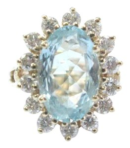 Other Fine Gem Aquamarine Diamond Yellow Gold Jewelry Ring 7.50CT