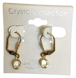 Swarovski Petite dangle Swarovski clear crystal earrings in gold color