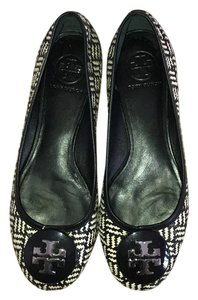Tory Burch black, cream and symbol Flats