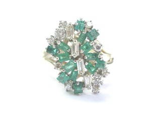 Other Fine Vintage Gem Green Emerald Old Euro Diamond Cluster Yellow Gold Ri