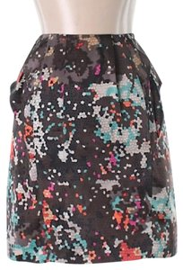 7 For All Mankind Abstract Silk Modern Mini Skirt Black with stained glass pattern