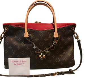 Louis Vuitton Satchel in Monogram with red