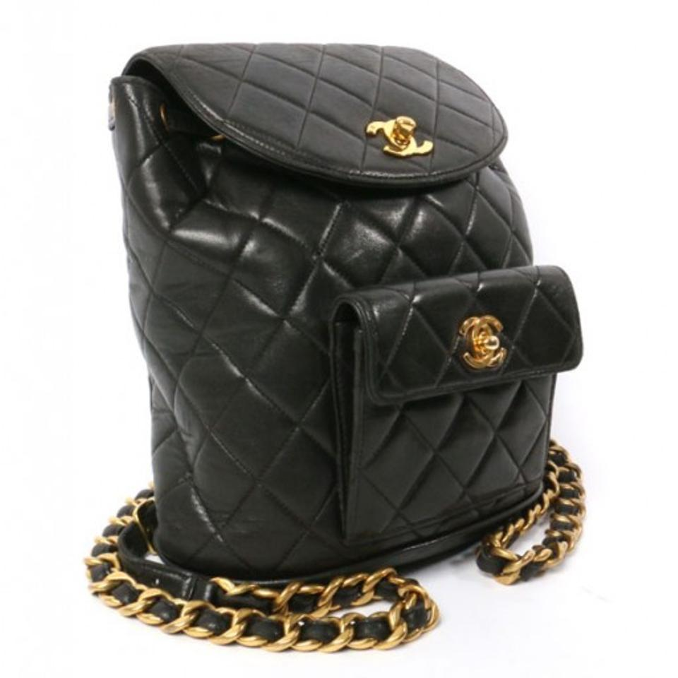 Chanel Vintage Lambskin Quilted Cc Turn Lock Backpack On
