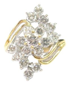 Other Fine Round Cut Diamond Flower Cocktail Jewelry Ring Yellow Gold 1.96CT