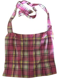 Lilly Pulitzer pink plaid Halter Top