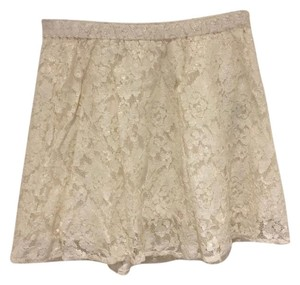 Abercrombie & Fitch Lace Shimmer Mini Skirt white shimmer