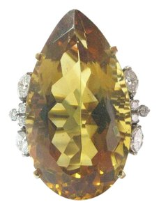 Other 18Kt Gem Citrine Diamond Yellow Gold Solitaire W Accents Jewelry Ring