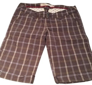 Hollister Capris brown and blue and tan stripes