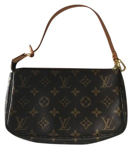Louis Vuitton Leather Gold Hardware Traditional LV Brown/Tan Monogram Clutch