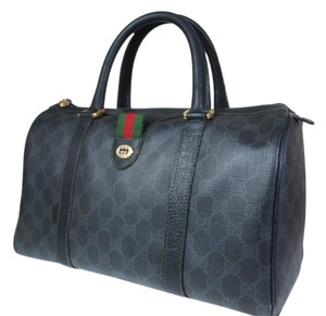 Gucci Style Rare & Perfect For Everyday Mint Vintage Satchel in grey large G logo on black coated canvas with black leather and red & green accent