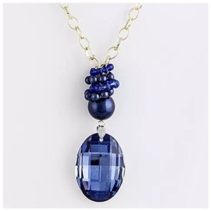 Other Large Blue Crystal Pendant Statement Necklace D10
