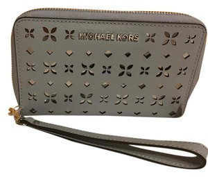 Michael Kors Perforated Wristlet in Dusty Blue