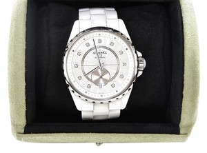 Chanel Automatic Watch J12 White Ceramic OPALINE DIAL DIAMOND Indicator Steel