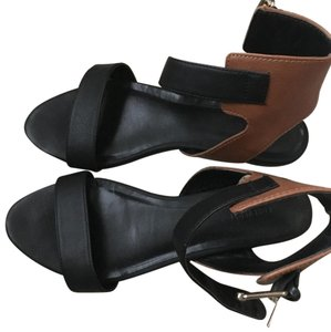 Forever 21 Faux Leather Open Toe Color-blocking black and brown Sandals