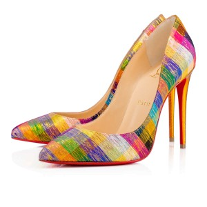 Christian Louboutin Pigalle Follies Disco Square Rainbow Color 100mm Multi Pumps