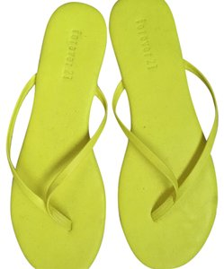 Forever 21 Neon Flipflops New Faux Leather yellow Sandals