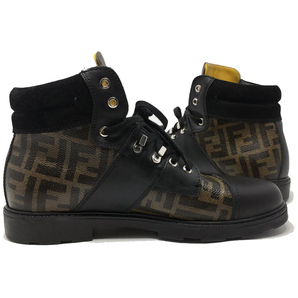0136f096 Fendi Brown Ff Zucca Military Mens High Top Commando Boots/Booties Size US  9 Regular (M, B)
