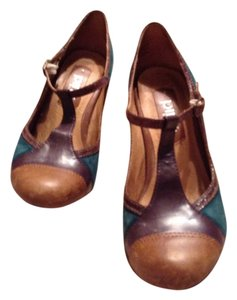 Anthropologie Teal, brown and maroon Pumps